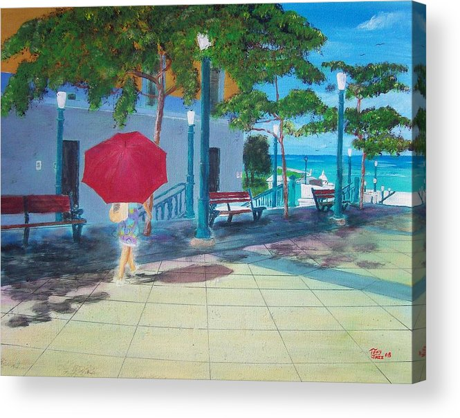 Landscapes Acrylic Print featuring the painting Red Umbrella In San Juan by Tony Rodriguez