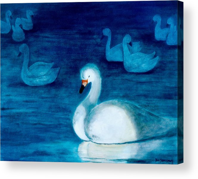 Duck Acrylic Print featuring the painting Reflections 1 by Jun Jamosmos