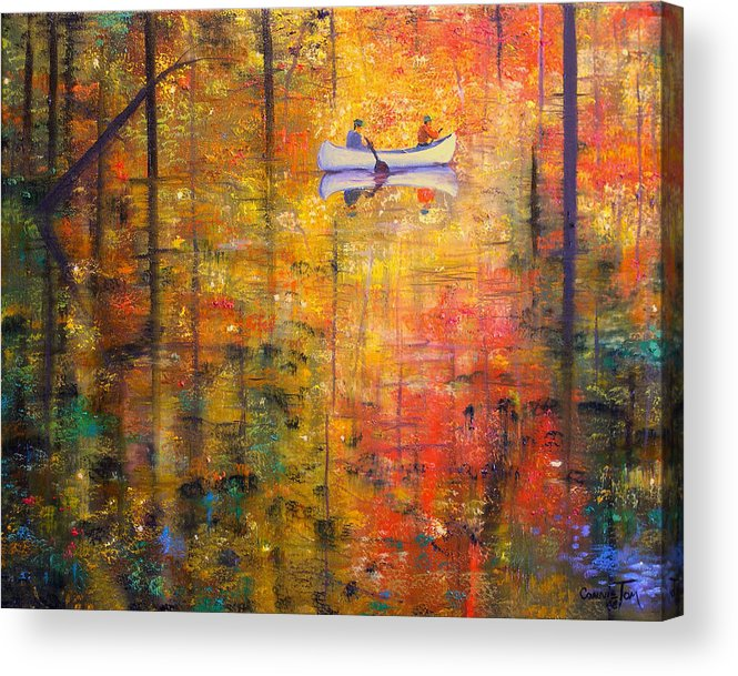 Connie Tom Acrylic Print featuring the painting Reflections Of Autumn X by Connie Tom