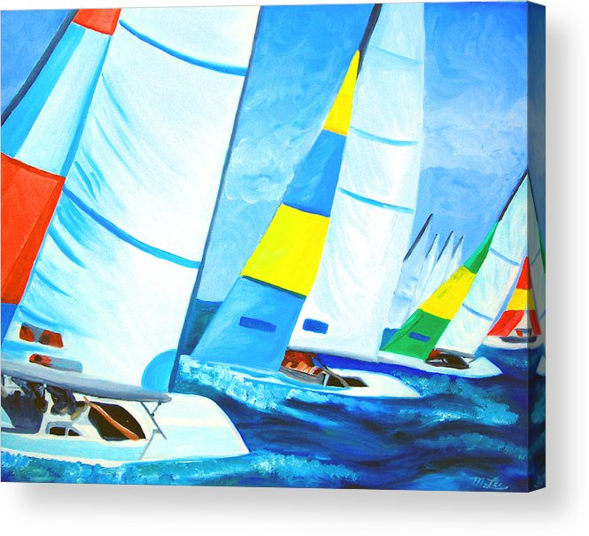 Sailing Acrylic Print featuring the painting Regatta by Michael Lee