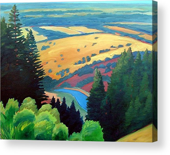Rerservoir Acrylic Print featuring the painting Reservoir Below by Gary Coleman