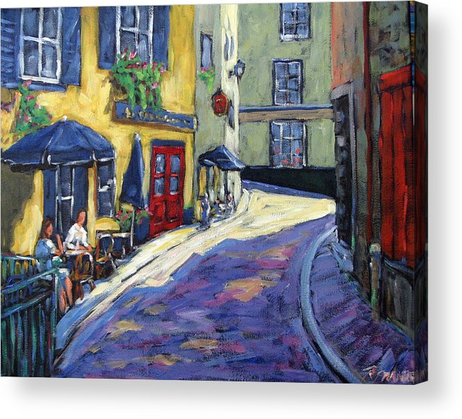 Restaurant Acrylic Print featuring the painting Resto Le Cochon Dingue In Old Quebec by Richard T Pranke