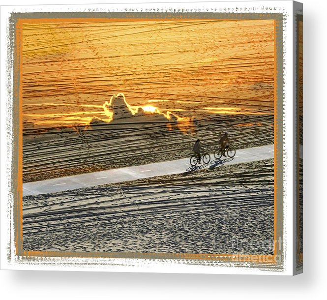 Beach Acrylic Print featuring the digital art Riding Off Into The Sunset by Chuck Brittenham