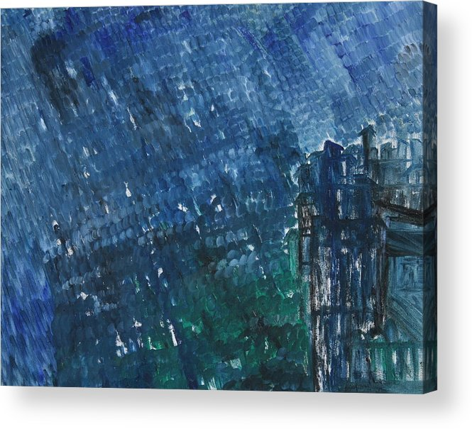 Acrylic Print featuring the painting River Water Rains by Prakash Bal Joshi