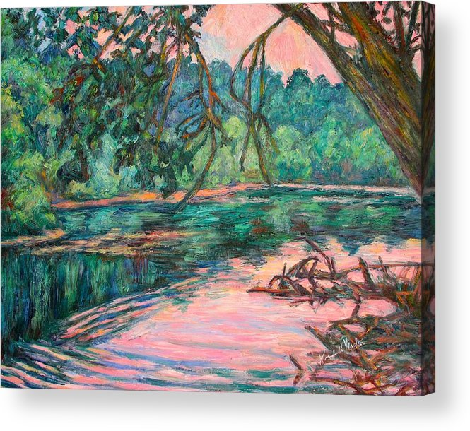 Riverview Park Acrylic Print featuring the painting Riverview At Dusk by Kendall Kessler
