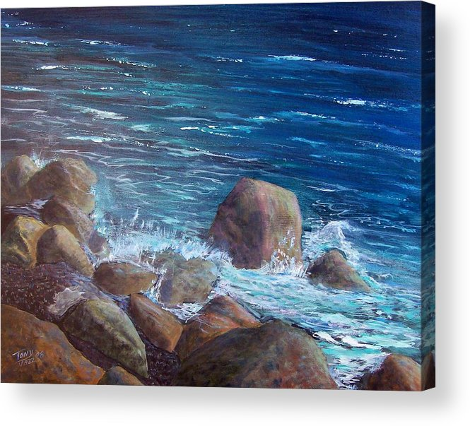 Seascape Acrylic Print featuring the painting Rocks And Rolls by Tony Rodriguez