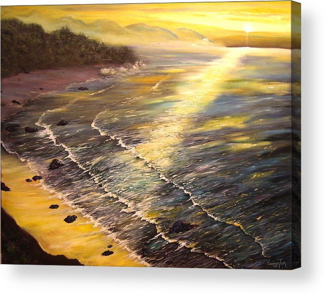 A Painting A Day Acrylic Print featuring the painting Romantic Sunset Surf by Connie Tom