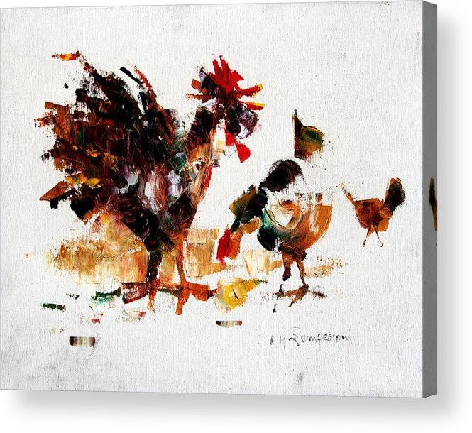 Rooster Acrylic Print featuring the painting Rooster by Mario Zampedroni