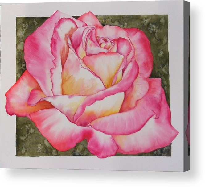 Red Acrylic Print featuring the painting Rose 4 by Diane Ziemski