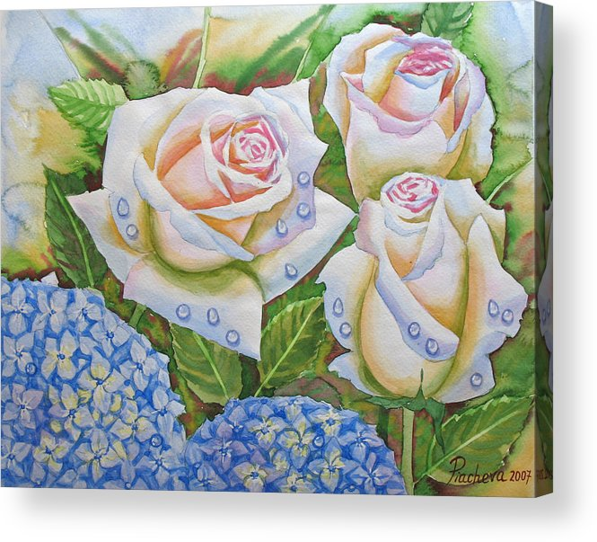 Flowers Acrylic Print featuring the painting Roses.2007 by Natalia Piacheva