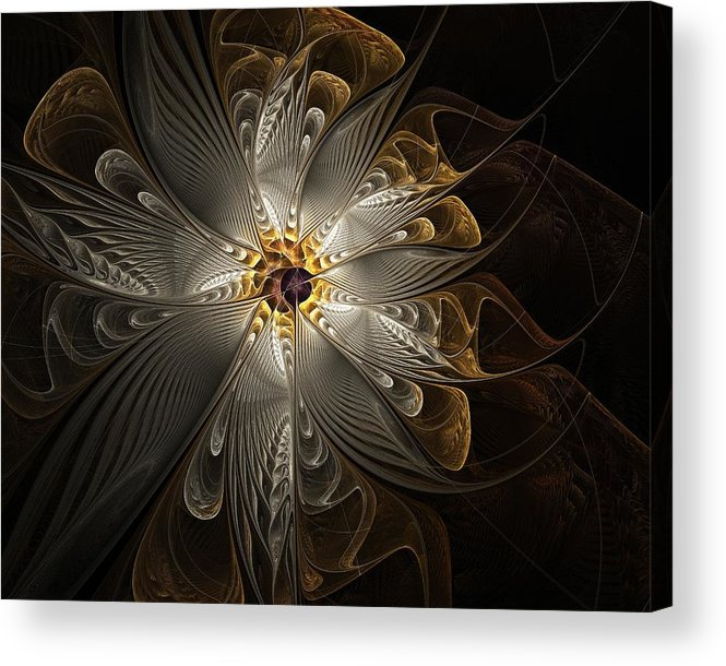 Digital Art Acrylic Print featuring the digital art Rosette In Gold And Silver by Amanda Moore