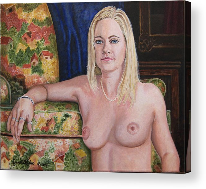 Portrait Acrylic Print featuring the painting Roxy by Kenneth Kelsoe