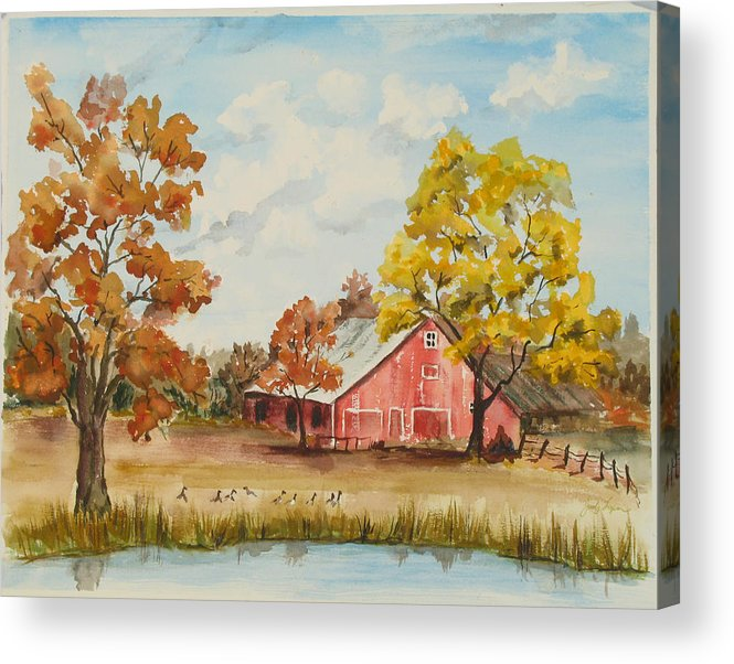 Bristow Acrylic Print featuring the painting Rt 66 Barn In Bristow Oklahoma by Judy Loper