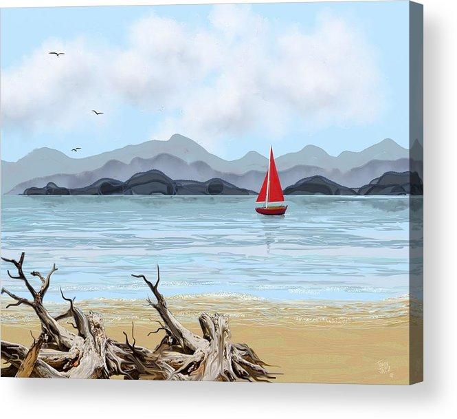 Sailboat. Seascape Acrylic Print featuring the digital art Sailboat by Tony Rodriguez