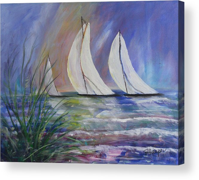 Sailing Acrylic Print featuring the painting Sailing The Windy Sea by Barbara Harper