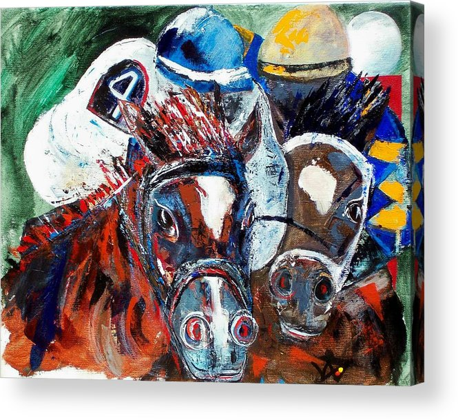 Horse Acrylic Print featuring the painting Saratoga Duo by Valerie Wolf