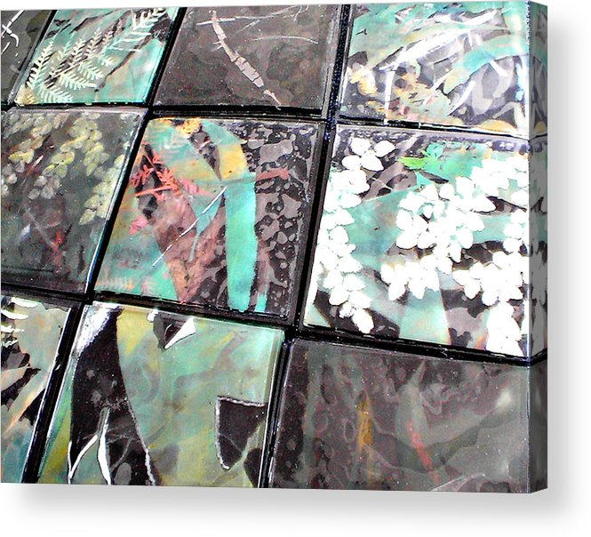 Logging Acrylic Print featuring the mixed media Screen Printed Glass Tiles by Sarah King