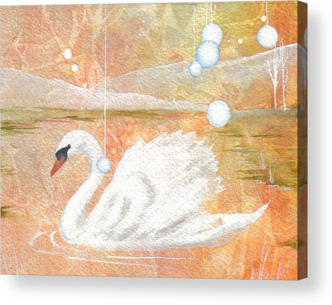 Swan Acrylic Print featuring the painting Serena's Sanctuary by Jackie Mueller-Jones