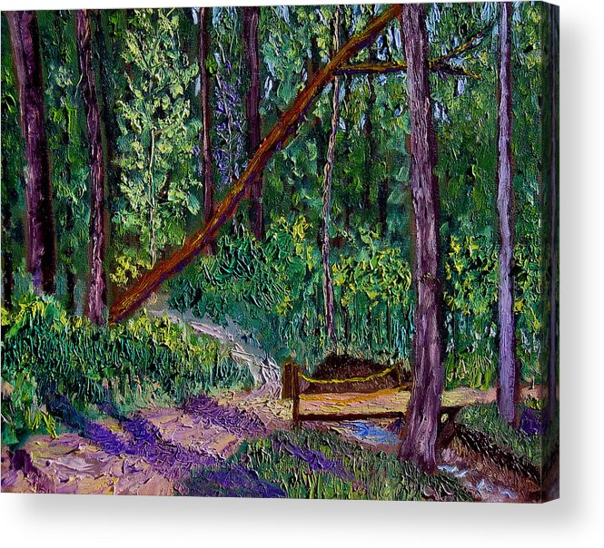 Landscape Acrylic Print featuring the painting Sewp Trail Bridge by Stan Hamilton
