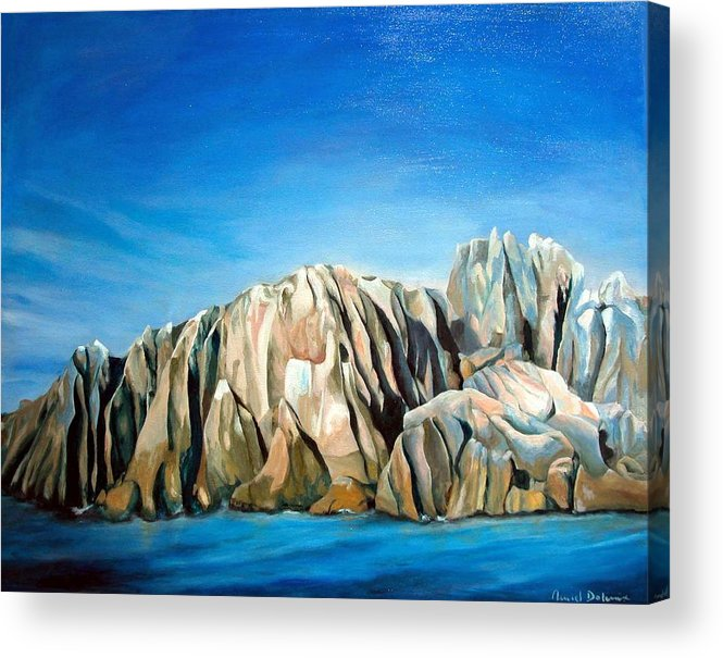 Paysage Acrylic Print featuring the painting Seychelles by Muriel Dolemieux