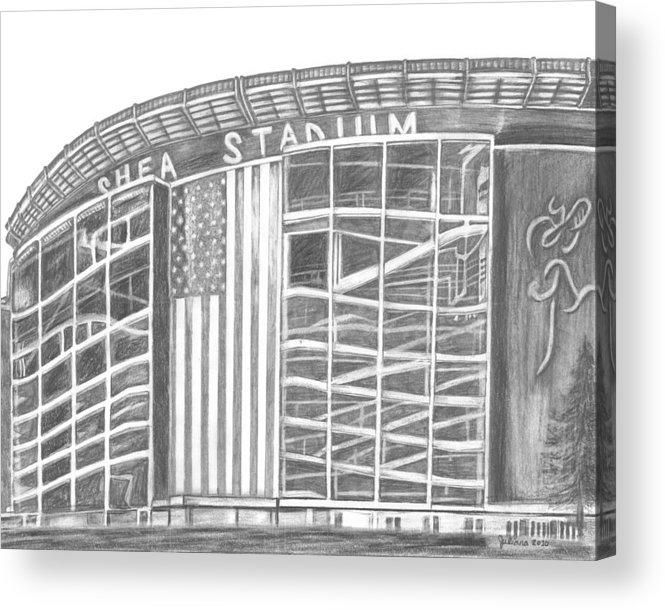 Shea Stadium Acrylic Print featuring the drawing Shea Stadium by Juliana Dube
