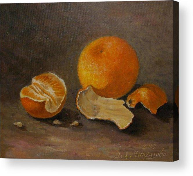 Still Life Acrylic Print featuring the painting Sill Life With Mandarins by Eleonora Mingazova