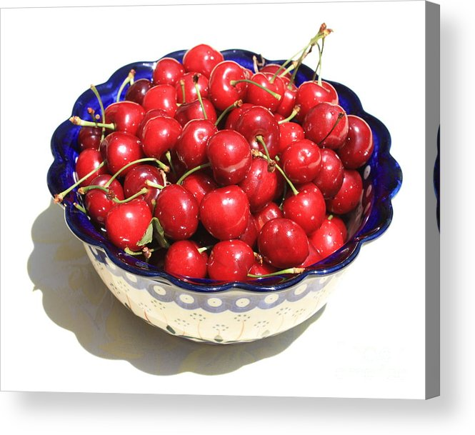 Cherries Acrylic Print featuring the photograph Simply A Bowl Of Cherries by Carol Groenen