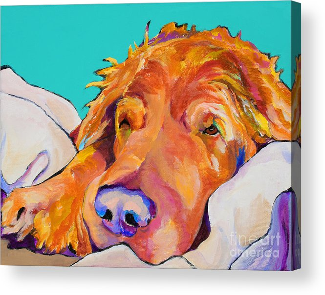 Dog Poortraits Acrylic Print featuring the painting Snoozer King by Pat Saunders-White