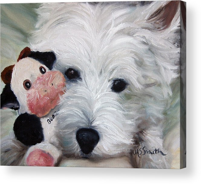 Art Acrylic Print featuring the painting Snuggling Up To Budda by Mary Sparrow
