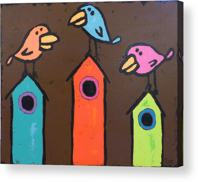 Birds Acrylic Print featuring the painting South For The Winter by Ron York