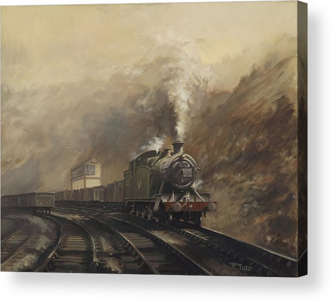 Steam Acrylic Print featuring the painting South Wales Coal Train by Richard Picton