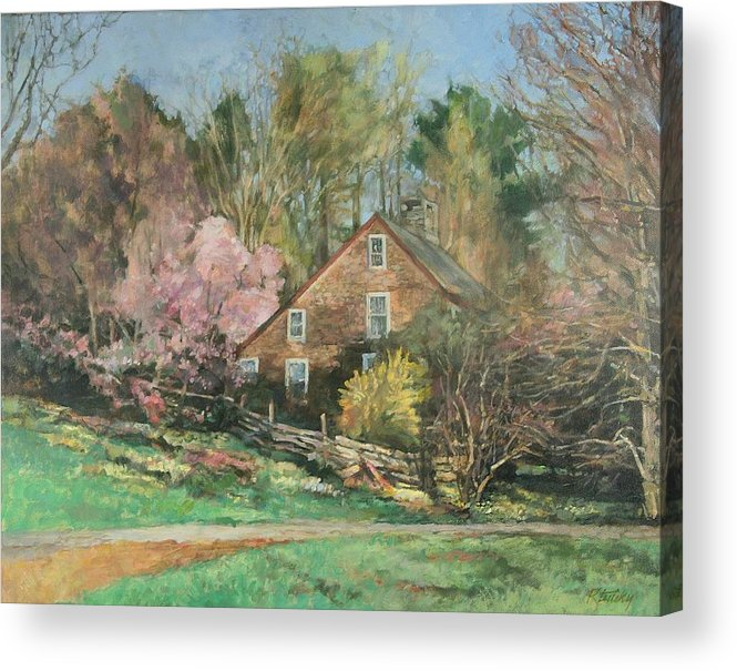 Spring Acrylic Print featuring the painting Springtime On Longhill by Robert Tutsky