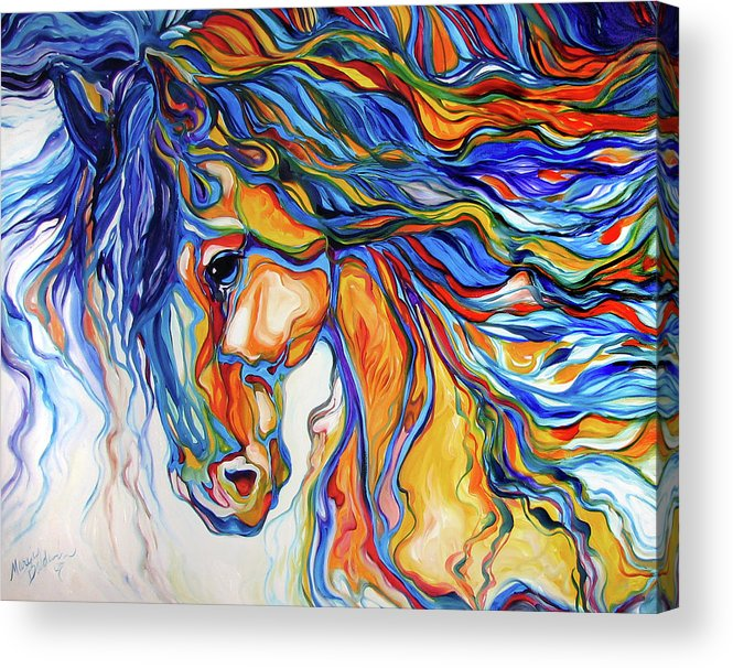 Equine Acrylic Print featuring the painting Stallion Southwest By M Baldwin by Marcia Baldwin