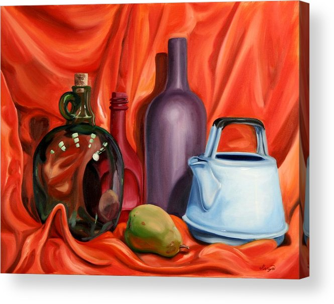 Still Life Acrylic Print featuring the painting Still Life With Pear by Maryn Crawford