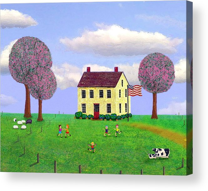 Folk Acrylic Print featuring the painting Stone House In Spring by Paul Little