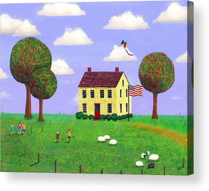 Folk Art Acrylic Print featuring the painting Stone House In Summer by Paul Little