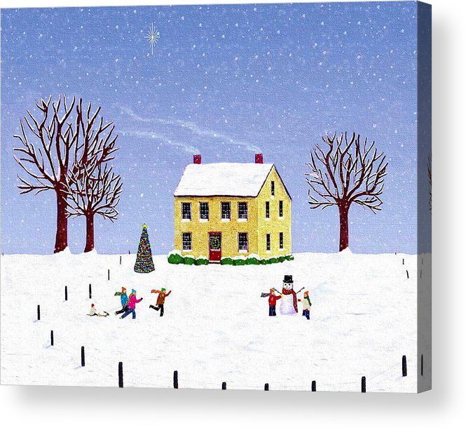 Winter Acrylic Print featuring the painting Stone House In Winter by Paul Little