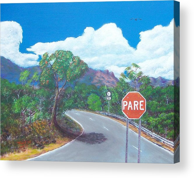 Landscape Acrylic Print featuring the painting Stop Sign by Tony Rodriguez