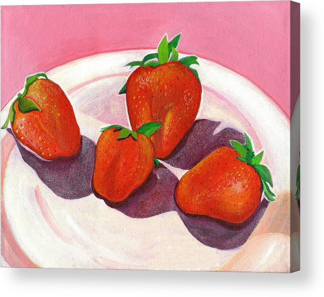 Food Acrylic Print featuring the painting Strawberries And Cream by Helena Tiainen