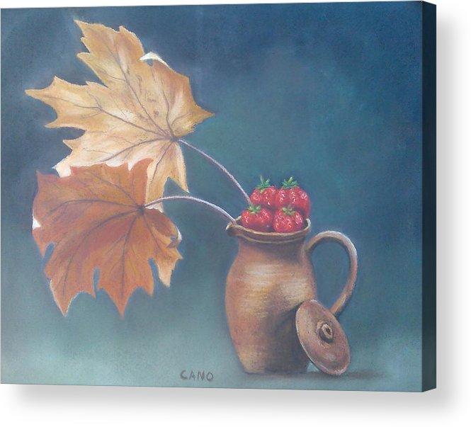 Strawberries Acrylic Print featuring the pastel Strawberry Fall by Rosa Mari Cano Membrado