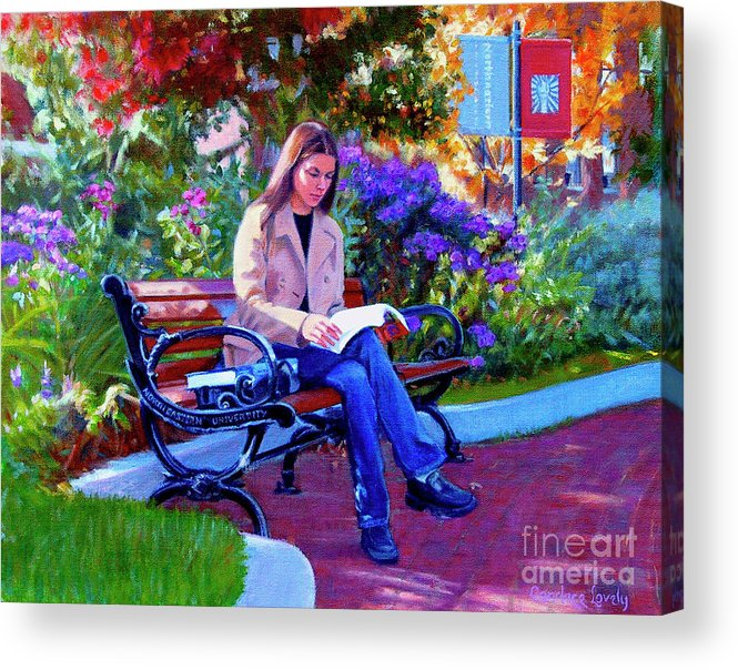 Female Student Acrylic Print featuring the painting Studying Before Class by Candace Lovely