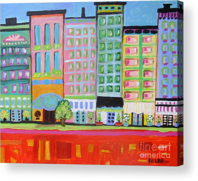 Folk Acrylic Print featuring the painting Summer Avenue by Karen Fields