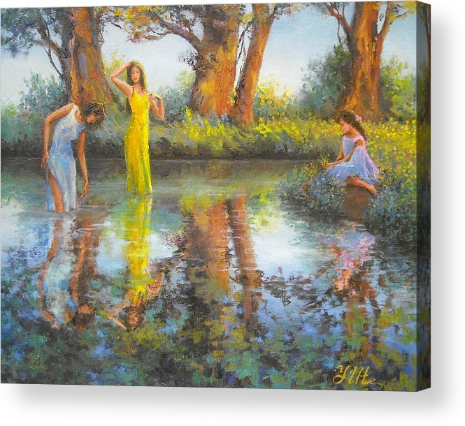 Women Acrylic Print featuring the painting Summer Romantism. by Julia Utiasheva