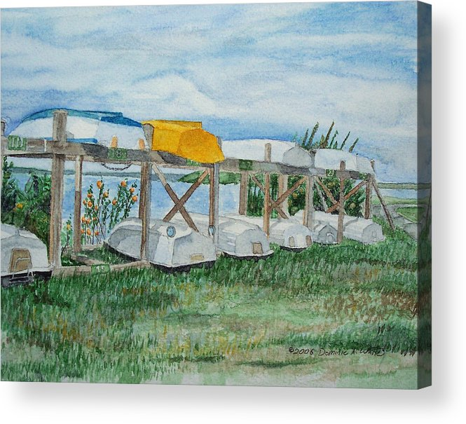 Rowboats Acrylic Print featuring the painting Summer Row Boats by Dominic White