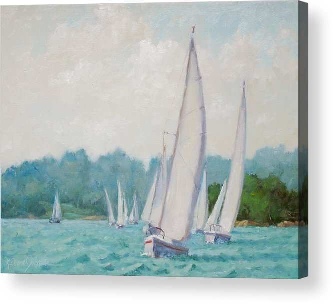 Sail Boats Acrylic Print featuring the painting Sun Cruisers by L Diane Johnson