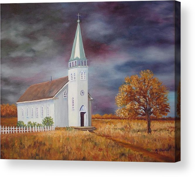 Landscape Acrylic Print featuring the painting Sunday Go To Meetin' by Maxine Ouellet