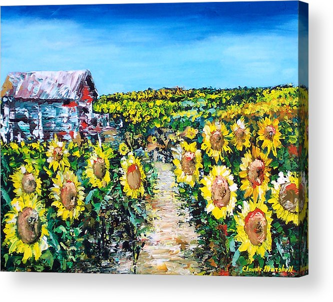 Art Acrylic Print featuring the painting Sunflowers by Claude Marshall