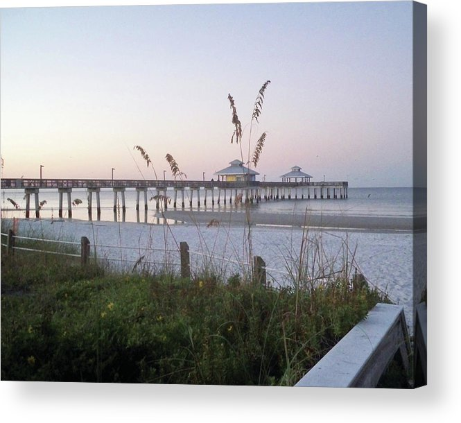 Florida Acrylic Print featuring the photograph Sunrise Beyond Pier by Chris Andruskiewicz
