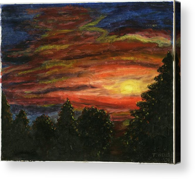 Sunset In Washington State Acrylic Print featuring the painting Sunset In Washington State by Tanna Lee M Wells
