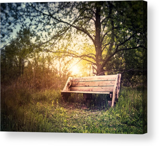Landscape Acrylic Print featuring the photograph Sunset On A Wooden Bench by Scott Norris